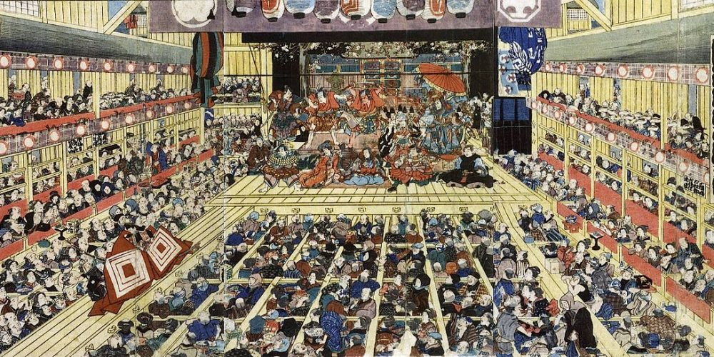 Traditional kabuki theatre production from 1858